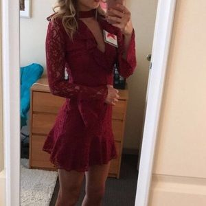 ASOS Petite Maroon Lace Sleeve Dress